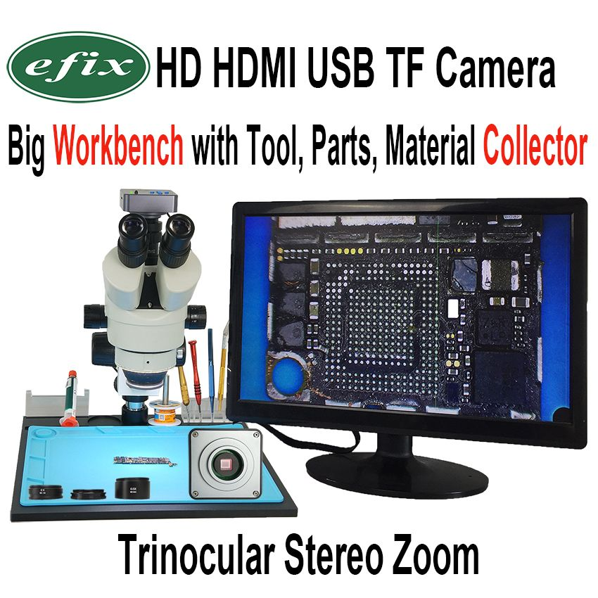 efix 22MP 3.5-90X Soldering Trinocular Stereo Continues Zoom Microscope HDMI USB TF Workbench for Repair iPhone Tools Kits