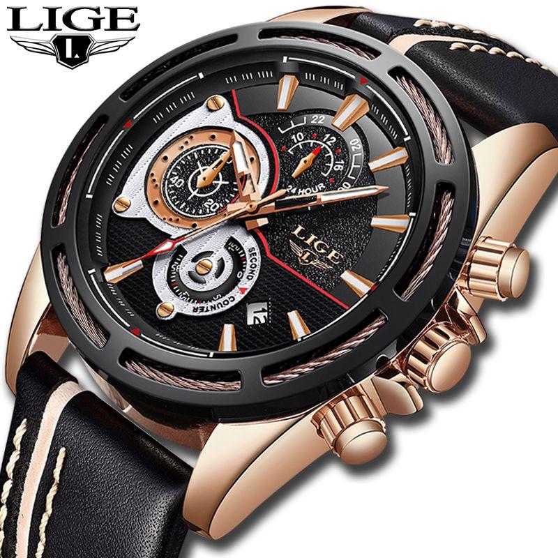Relogio Masculino LIGE Herren Uhren Top-marke Luxus Quarz Gold Uhr Männer Casual Leder Militärische Wasserdichte Sport Armbanduhr