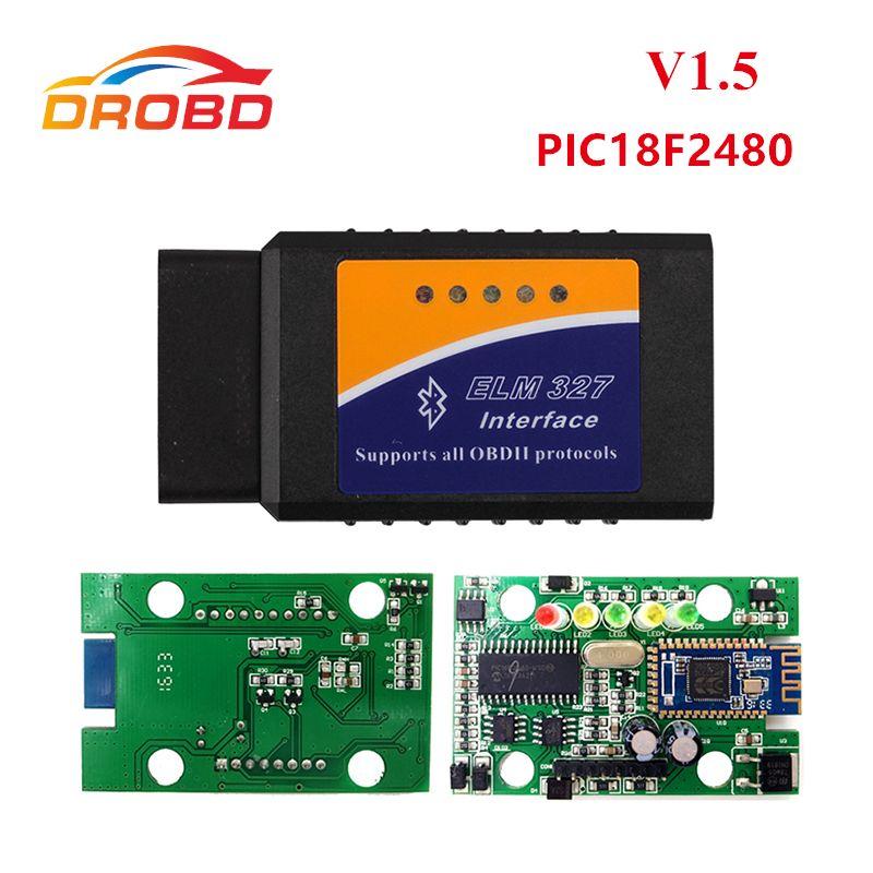 Meilleure qualité matériel ELM327 V1.5 PIC18F2480 puce ELM327 V 1.5 Bluetooth pour Android OBD2 Scanner diagnostic-outil ELM 327 OBD-II
