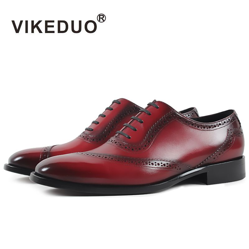 VIKEDUO Brand Handmade Shoes Men 2018 Red Formal Wedding Office Sapatos Footwear Plus Size Genuine Calf Leather Zapatos Hombre