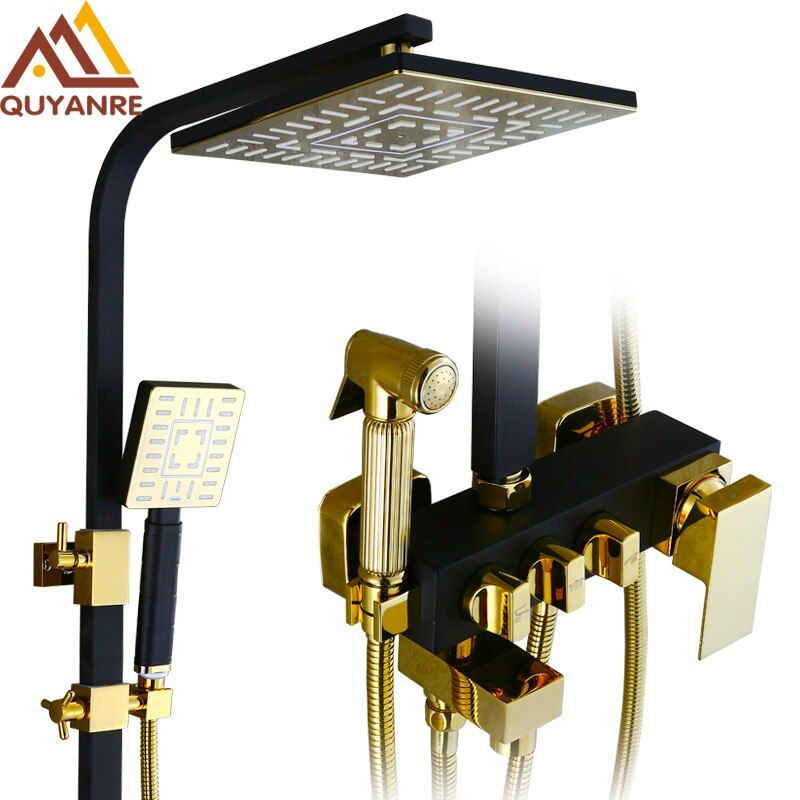 Shower Faucet Bathroom Luxury black ORB Golden Rainfall Shower Set With Sprayer Bidet Mixer Tap Wall Mount Shower Faucets