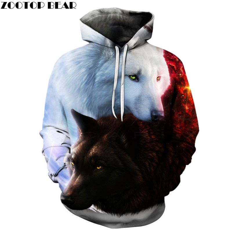 Fashion Hot Sale <font><b>Wolf</b></font> 3D Hoodies Brand Men Sweatshirts Drop Ship Quality Plus Size 6xl Pullover Novelty Streetwear Casual Jacket