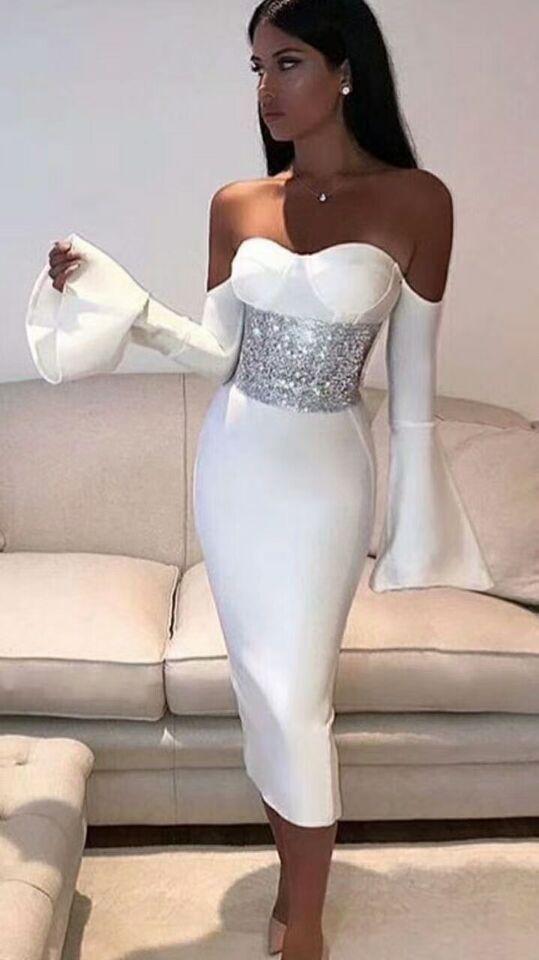 Winter Slash Neck Strapless Ruffles Long Sleeve Bandage Dress with Crystal Waist Back Slit Celebrity Birthday Party Dress A-20