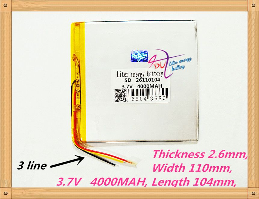 3 line Free shipping 26110104 3.7 V 4000 mah tablet battery brand tablet gm lithium polymer battery 30105110