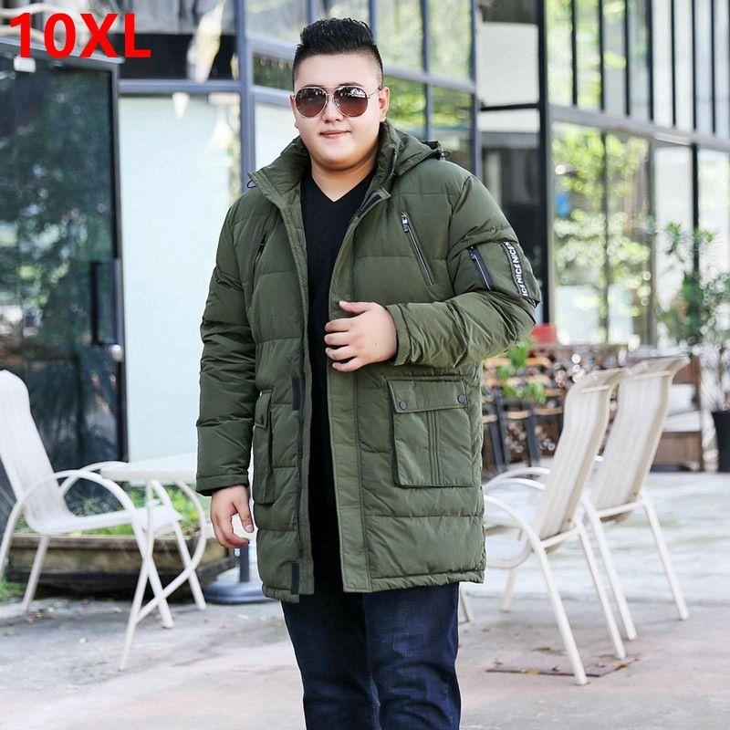 Winter plus size oversize code long section of white duck down jacket big size male fat man men shut coat 10XL 9XL 8XL