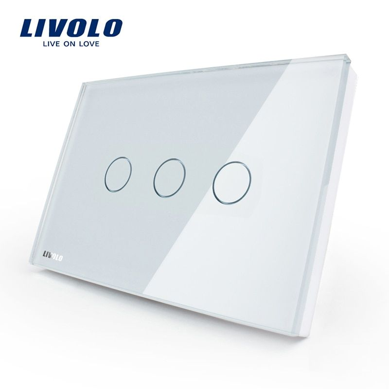 Livolo US standard Wall Touch Screen Control Switch, 3-gang 1way, AC 110~220V , White Crystal Glass Panel, VL-C303-81