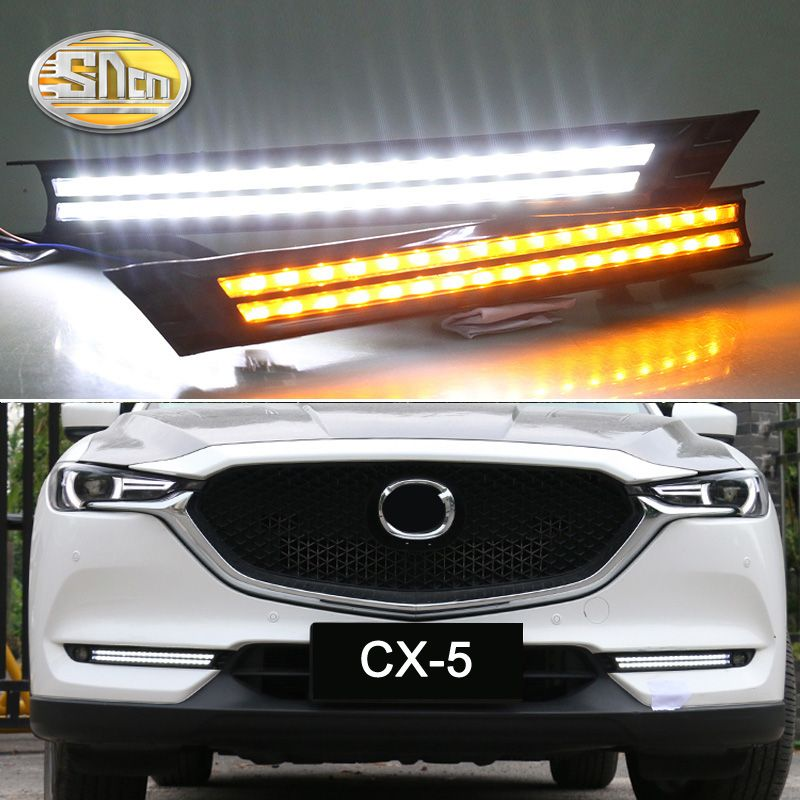 For Mazda CX-5 CX5 2017 2018 Flowing Turn Signal Relay Waterproof Car DRL 12V LED Daytime Running Light Fog Lamp Decoration SNCN