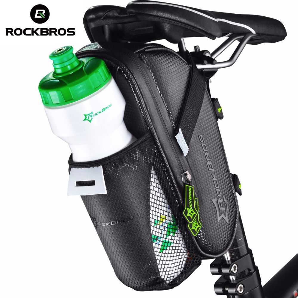 ROCKBROS Bicycle Saddle Bag With Water Bottle Pocket Waterproof MTB Bike <font><b>Rear</b></font> Bags Cycling <font><b>Rear</b></font> Seat Tail Bag Bike Accessories