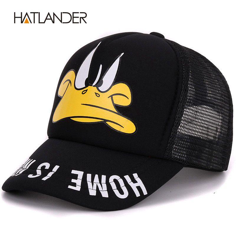 Hatlander mignon enfants casquettes de baseball bébé filles pare-soleil chapeaux garçons snapback casquette gorras dessin animé canard enfants été maille casquette