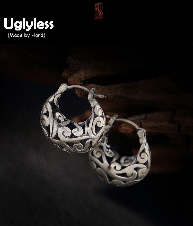 Uglyless Real 999 Silver Fine Jewelry Vintage Hollow Patterns Women Exotic Dress Earrings Nepal Ethnic Ear Hook Handmade Brincos
