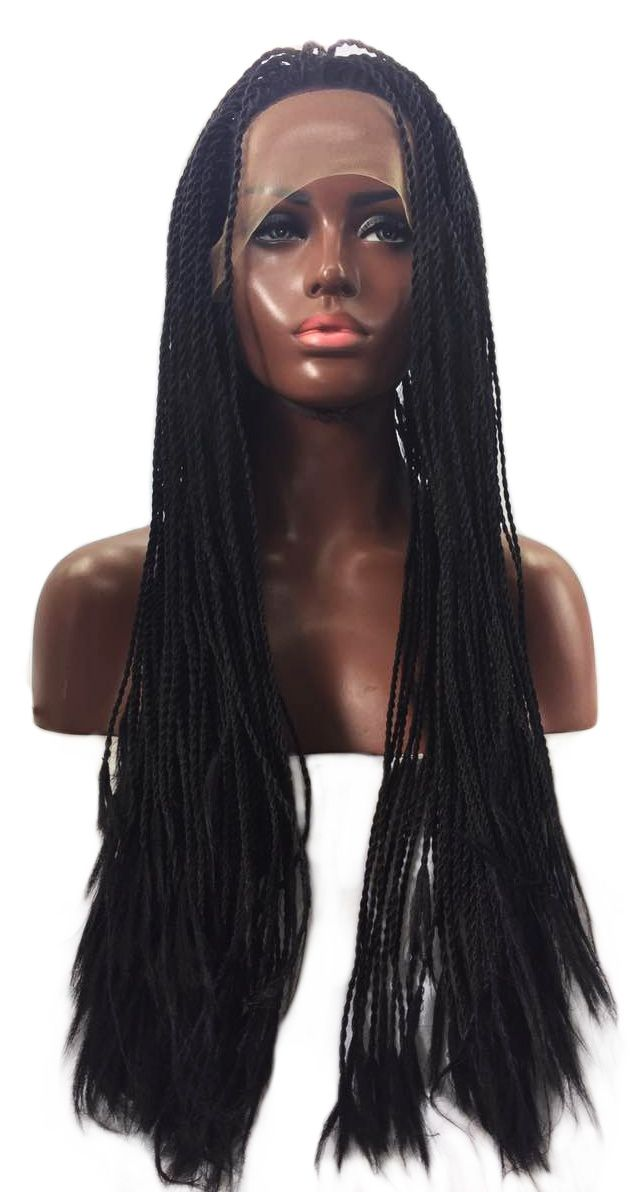 QQXCAIW Handmade 2x Twist Braids Lace Front Wig For Women Black Hand Making Heat Resistant Synthetic Hair Wigs