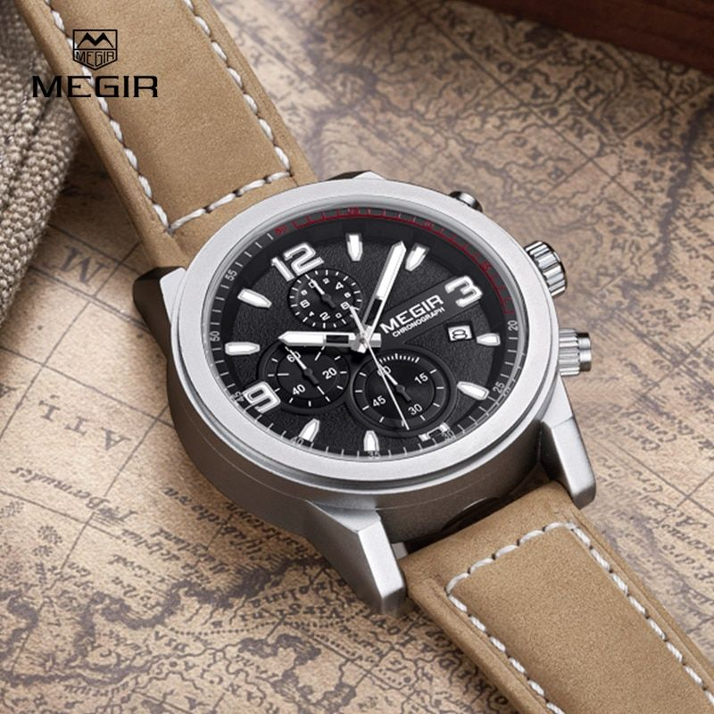 2016 Mens Watches Top Brand Luxury Waterproof Chronograph Watch Man Leather Sport Quartz Wrist Watch Clock Male orologio uomo
