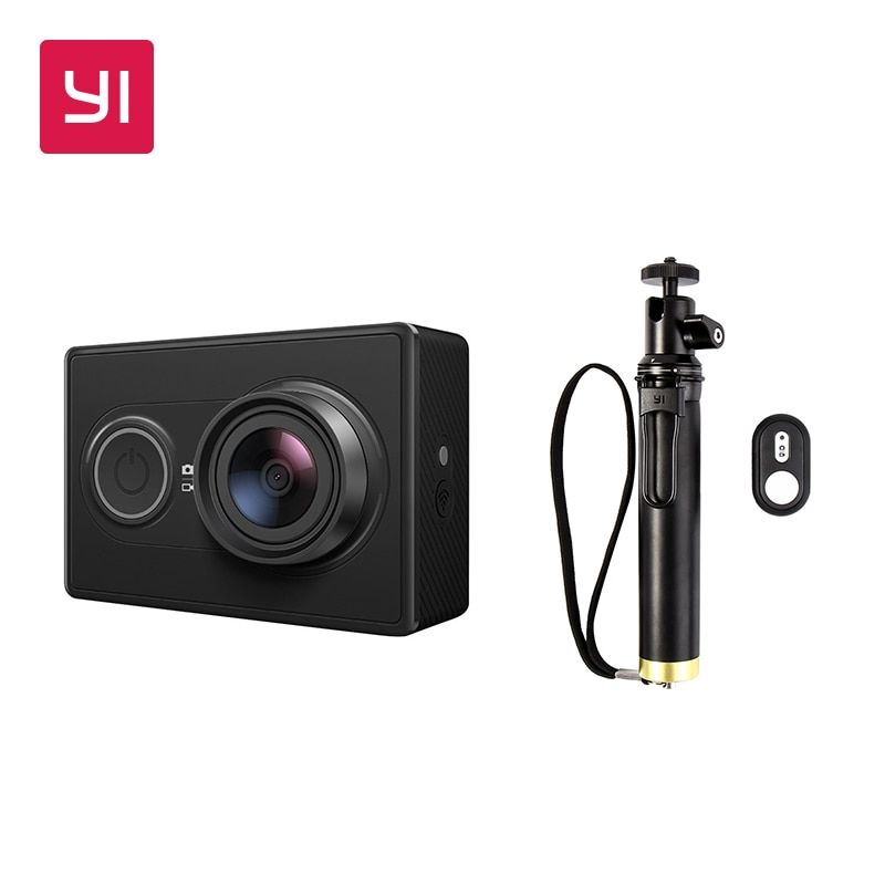 YI 1080P Action Camera Black and White with Selfie Stick Bundle High-definition 16.0MP 3D Noise Reduction International Edition