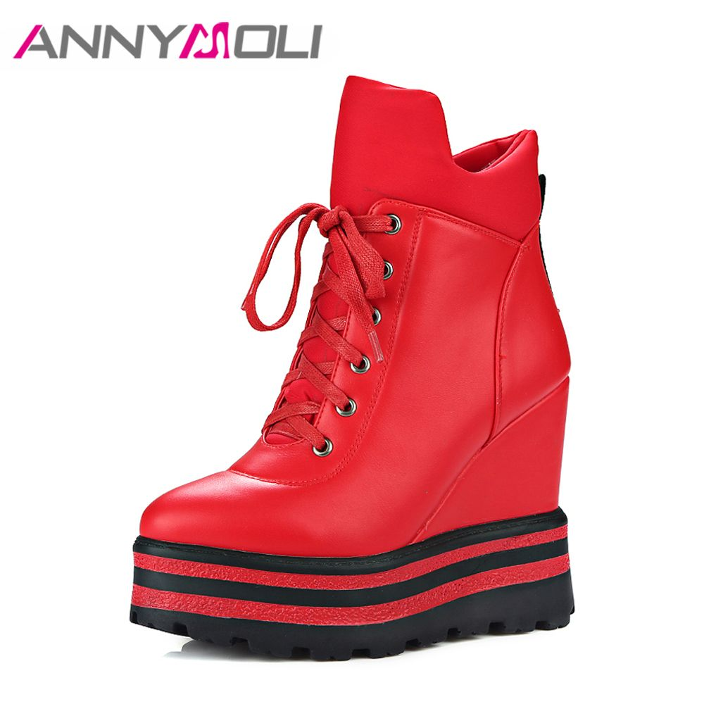 ANNYMOLI Women Ankle Boots Platform Wedge High Heels Warm Winter Boots Zip Female Autumn Boots Lady Shoes 2017 Chaussure Femme