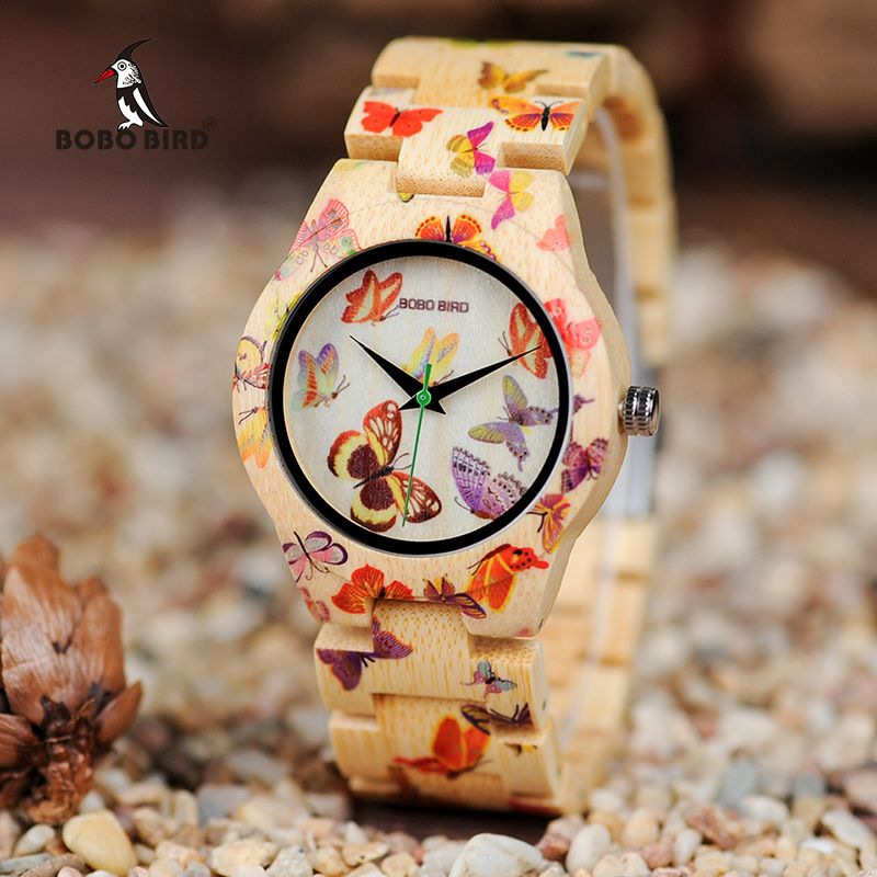 BOBO BIRD Ladies Wood Watch Women montre femme Bamboo Band Painting Butterfly Quartz Watches in Wooden Gift Box OEM W-O20