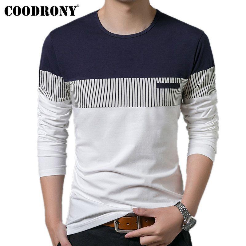 COODRONY T-Shirt hommes 2019 printemps automne nouveau à manches longues col rond T-Shirt hommes marque vêtements mode Patchwork coton Tee hauts 7622