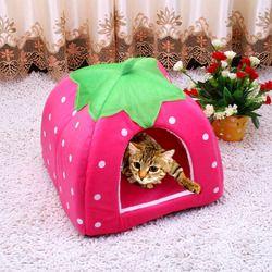 Lindo gatito gato plegable casa caliente suave invierno de algodón mascotas cama perrera Fleece nido acogedor para pequeño mediano gato perros S-XXL