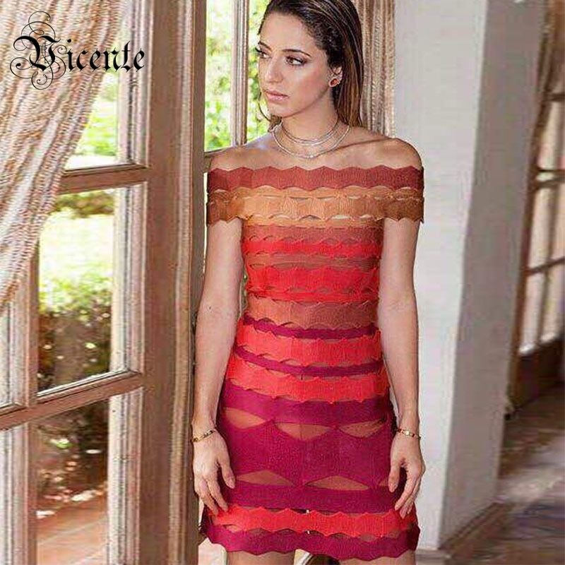 Vicente HOT 2018 New Chic Elegant Color Striped Patchwork Sexy Off The Shoulder Wholesale Women Celebrity Bandage Dress
