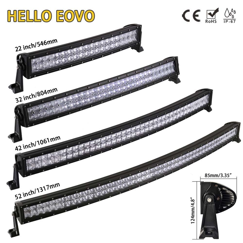 HALLO EOVO 5D 22 32 42 52 zoll Curved LED Light Bar LED Bar Arbeit Licht für Fahren Offroad Auto traktor Lkw 4x4 SUV ATV 12V 24V