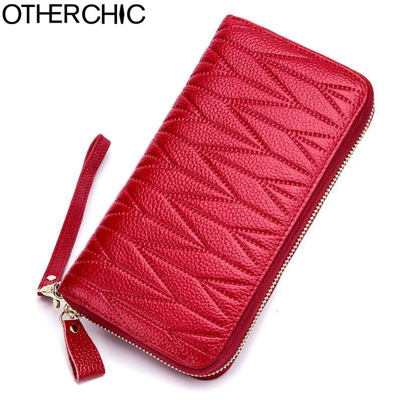 OTHERCHIC Rrid Block Genuine Leather Wallet Women Long Purse Card Holder Brand Purse Zipper Passport Case Drop Shipping 8N04-02