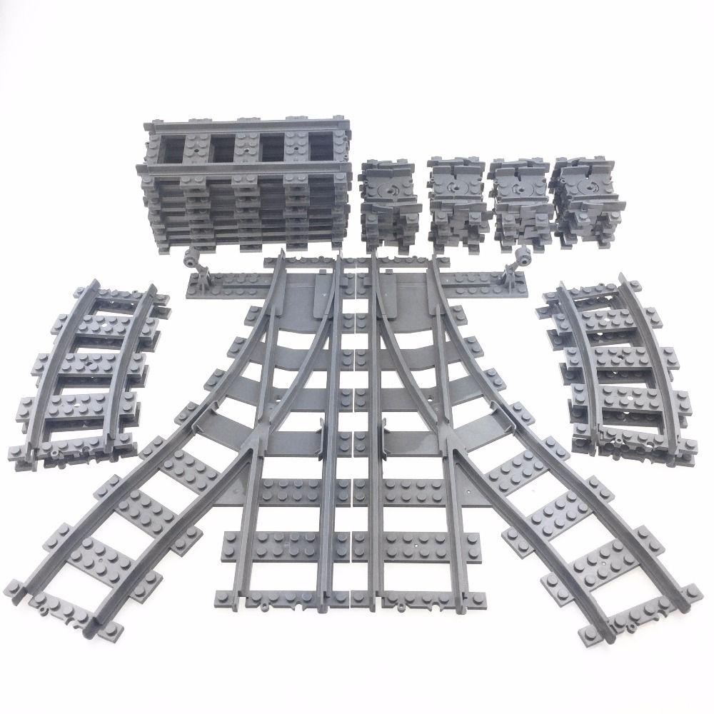 KAZI Train Track Building Bricks Plastic Rail Track for Train Straight & Curved & Furcal & Soft Educational Toys