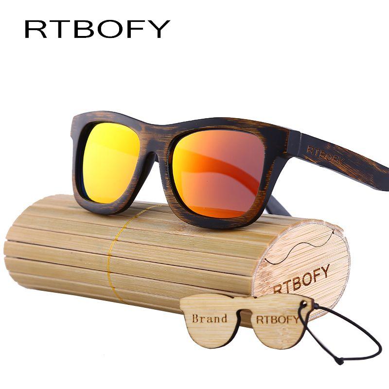 Rtbofy дерево Защита от солнца стекло Для мужчин Bamboo Защита от солнца Очки Винтаж древесины HD поляроидный деревянный Рамки очки ручной работы