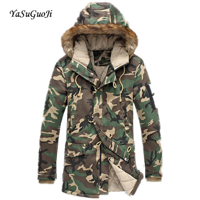 Moda camuflaje parka hombres militar medio-largo ropa engrosamiento de algodón acolchado hombres chaqueta de invierno con la piel capucha/MDY3