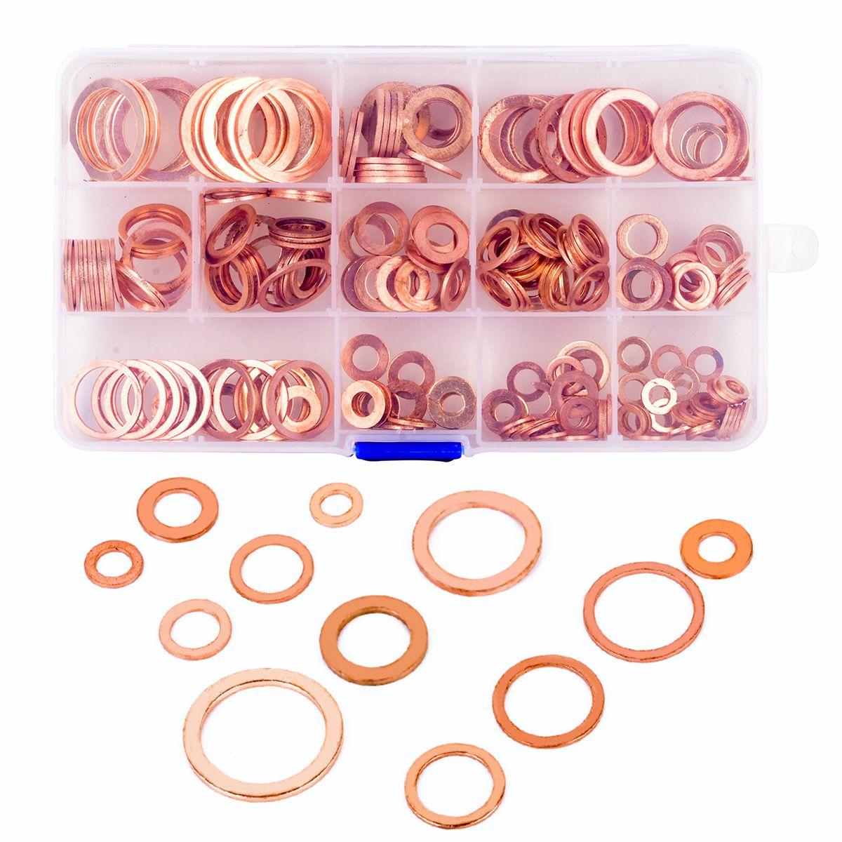 280 stücke Massivem Kupfer Dichtung Assorted Kupfer Unterlegscheiben Dichtring Set mit Fall 12 Größen M5-M20