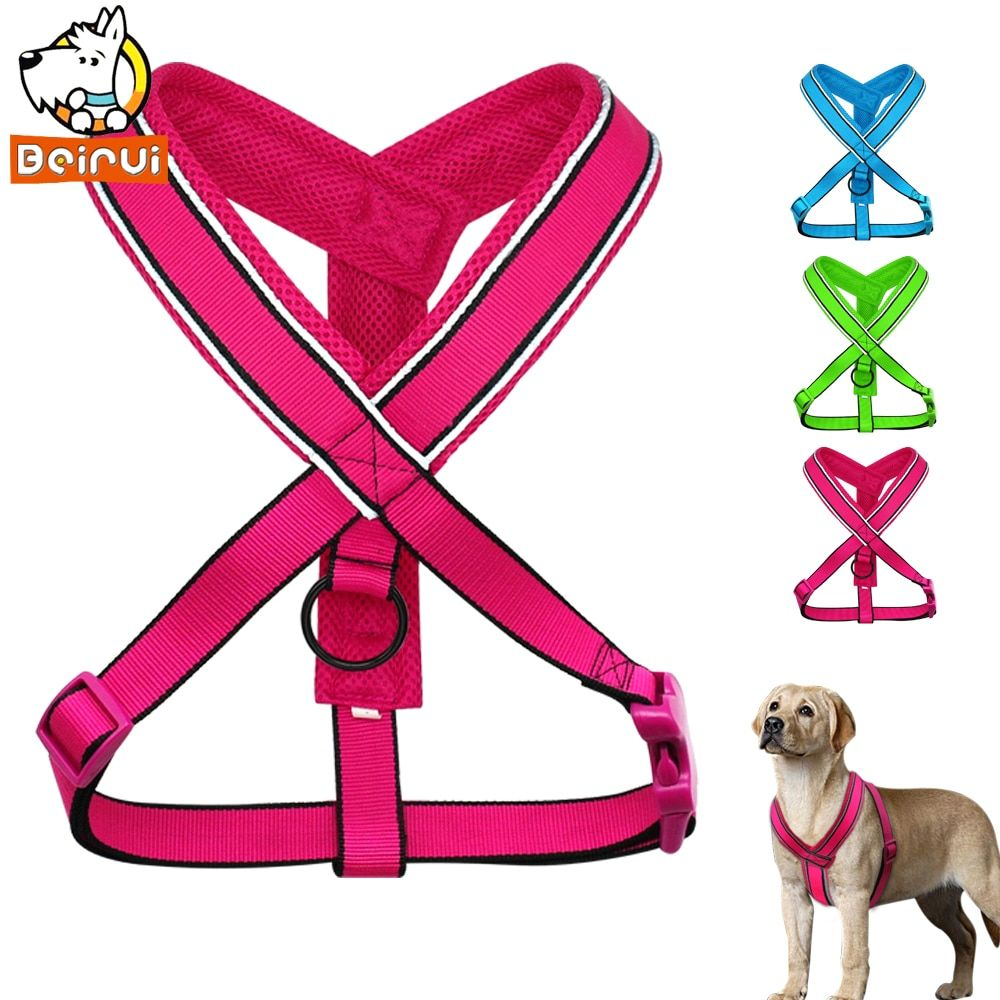 Durable Reflective Dog Harness Breathable Step In Nylon Mesh Harnesses for Medium Large Dogs Pet Length Adjustable for S M L XL