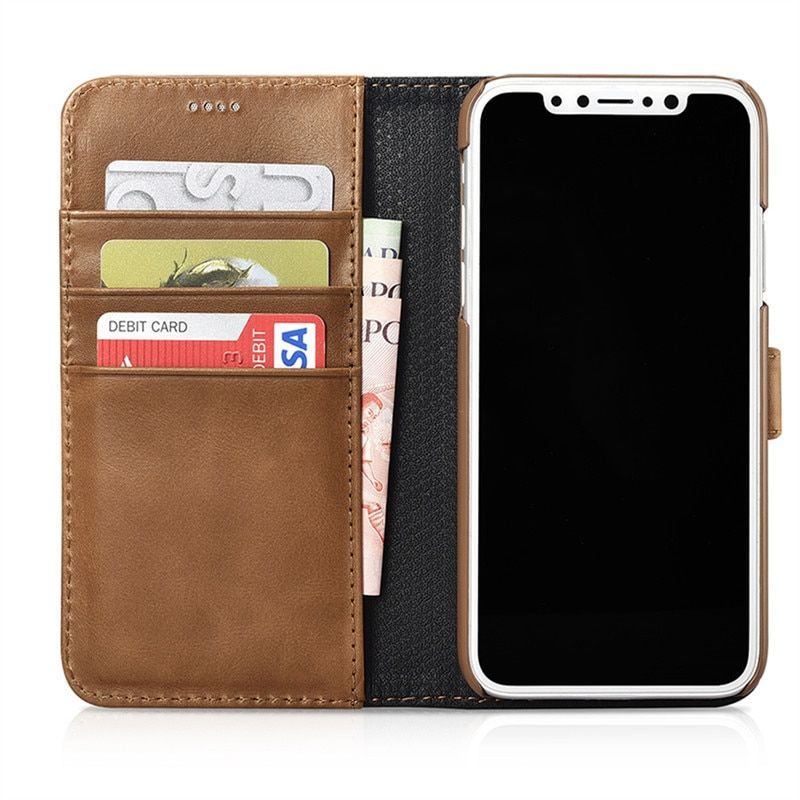 ICARER Genuine Leather Detachable 2 in 1 Wallet Folio Case for IPhone X Magnetic Strap Flip Cover