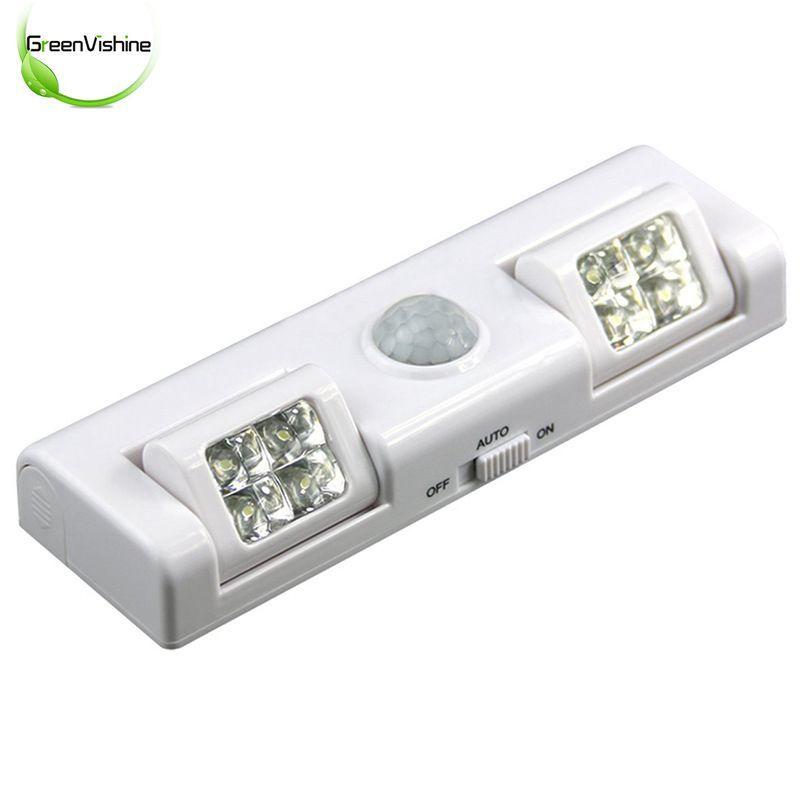 90 Degree 8LED Wireless Motion Sensor Light Battery Power Night Light For Cabinet Drawer Staircase Workshop Bedroom Garage Lamp