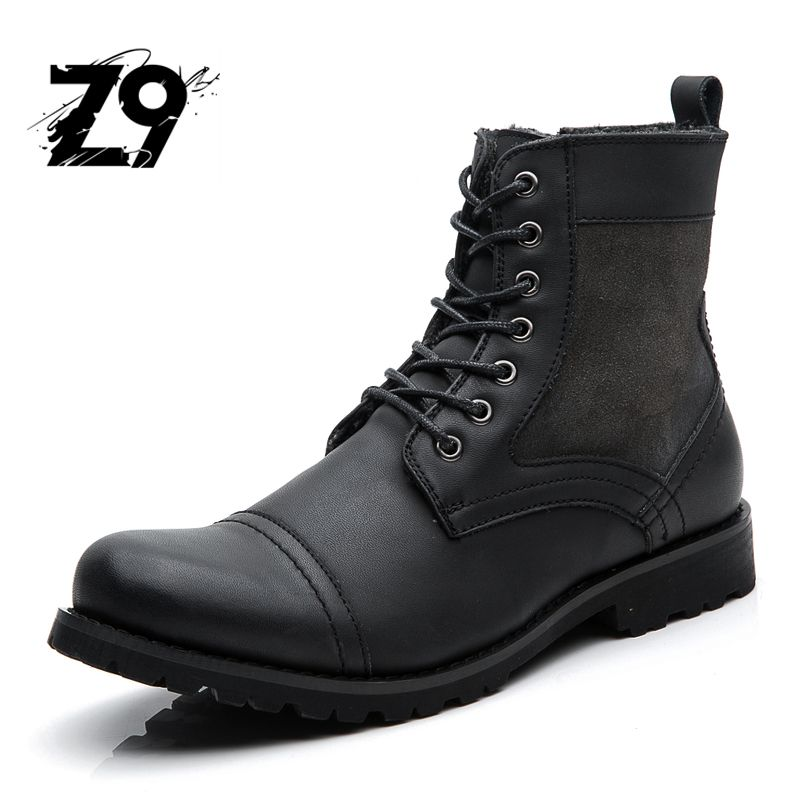 Top new men boots fashion casual high shoes cowboy style high quality lace-up classic leather ankle brand design season winter