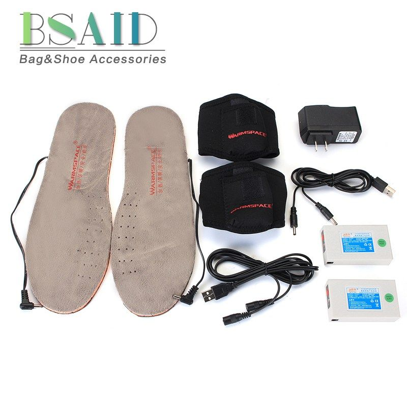 BSAID Heated Insoles Rechargeable DIY Length Women Men Fall Winter Warm Ankle Heating Foot Pads Thermal Electric Heated Inserts