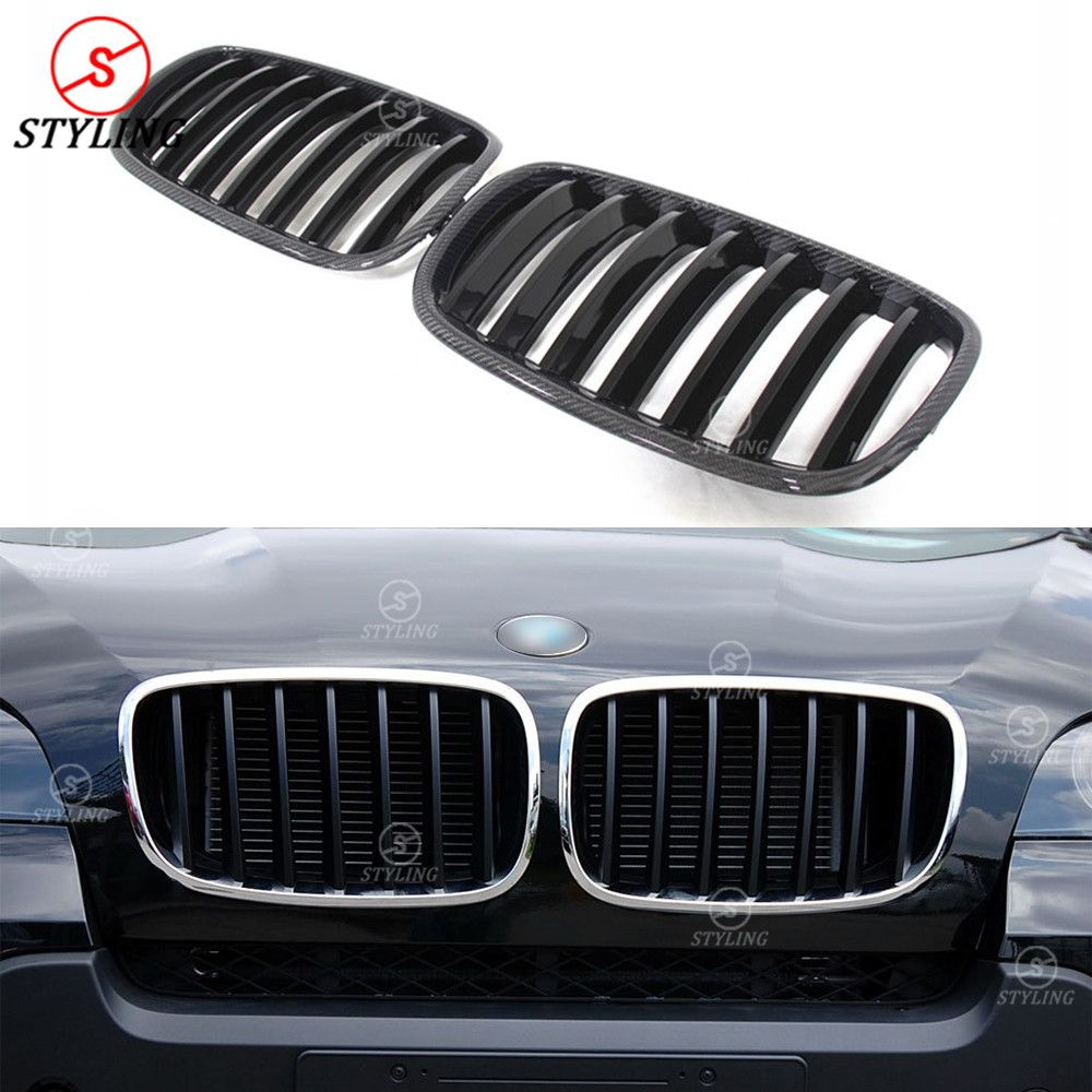 For BMW X Series X5 E70 X6 E71 Carbon Fiber Dual & Single Slat Front Bumper Front Grille Gloss Black Finish & 3 color 2007 -2013