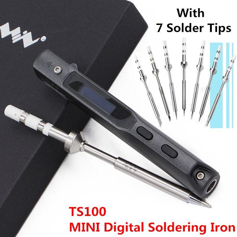 65w MINI TS100 Digital Soldering Iron Station Electric Tools Kit OLED Programable Interface DC5525 STM32 + 7 Original Solder Tip