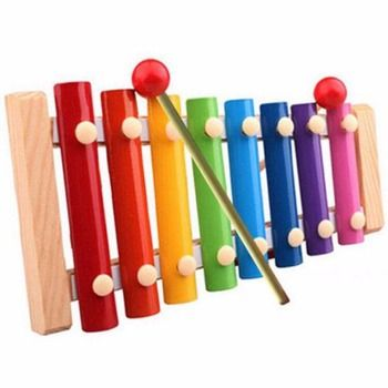 Kid Child 8 tone Xylophone Musical Toys Gift Wisdom Development Wooden Colorful Early Educational drum sticks