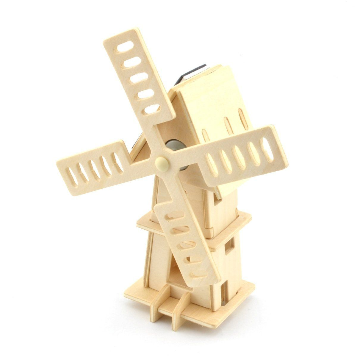 ABWE Best Sale DIY Painting Puzzle Solar Powered 3D Wooden Small Windmill Model Woodcraft Educational Toy
