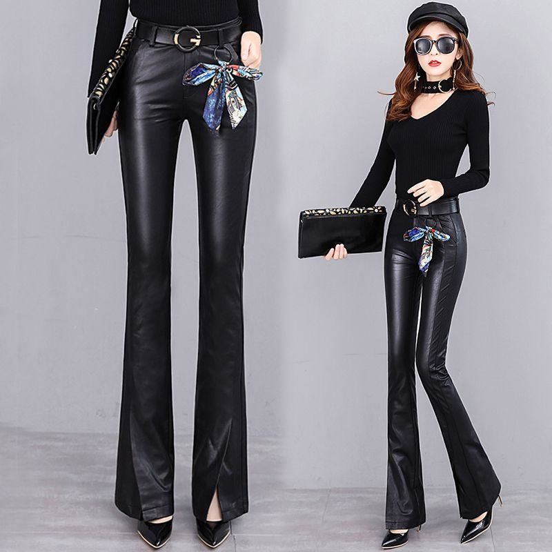 Split leather pants female autumn and winter new micro-flare pants high waist outer wear skin Slim was thin long pants tide