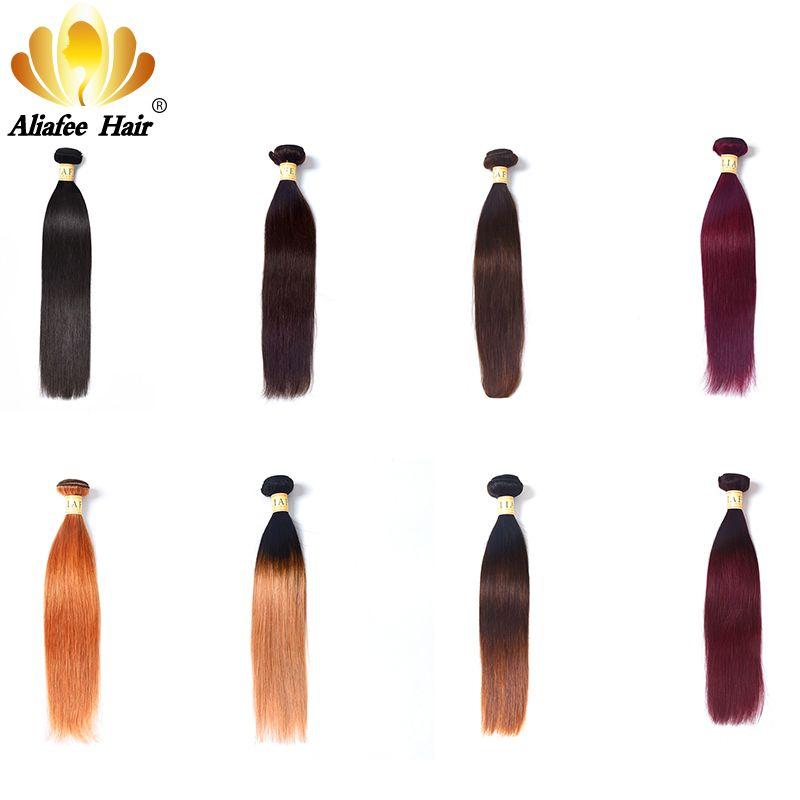 Aliafee Cheveux Brésiliens Cheveux Weave Bundles Droite Ombre Cheveux Bundles # 1b #2/#4/#99 /#27 Non Remy 8