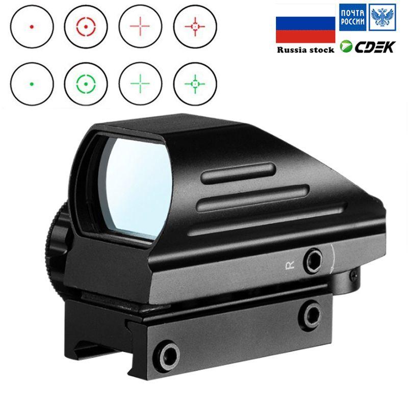 Réflexe tactique rouge vert Laser 4 réticule holographique projeté point portée de visée Airgun vue chasse 11mm/20mm Rail Mount AK