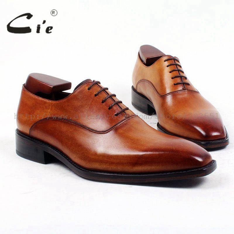 cie Square Plain Toe Custom Bespoke Handmade 100%Pure Genuine Calf Leather Casual Lacing Men's Dress Business Leather Shoe OX421