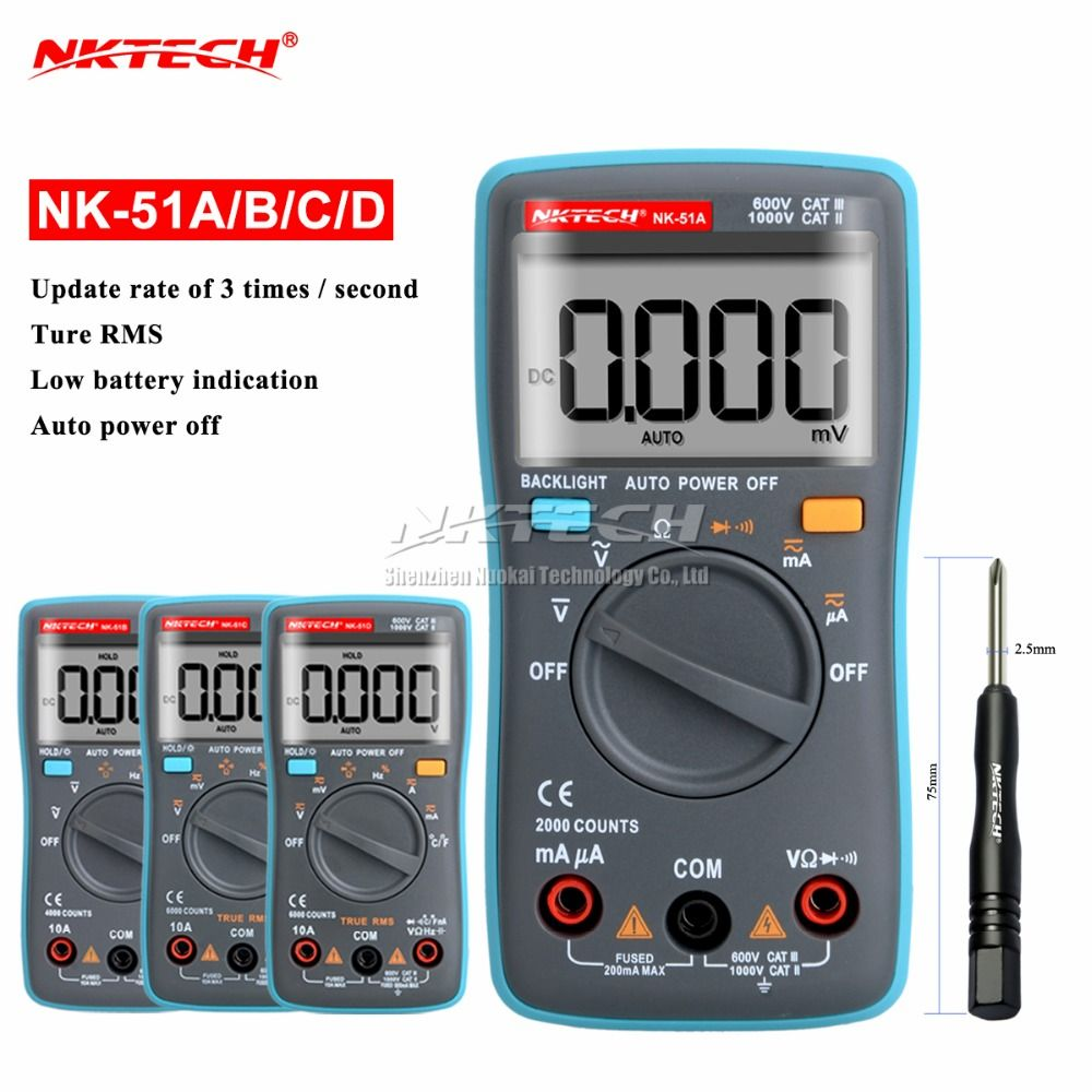 Nk51a VS rm102 диагностический инструмент Цифровой мультиметр 6000 отсчетов Подсветка AC/DC Ом Амперметр Температура nk51b nk51c nk51d LC метр