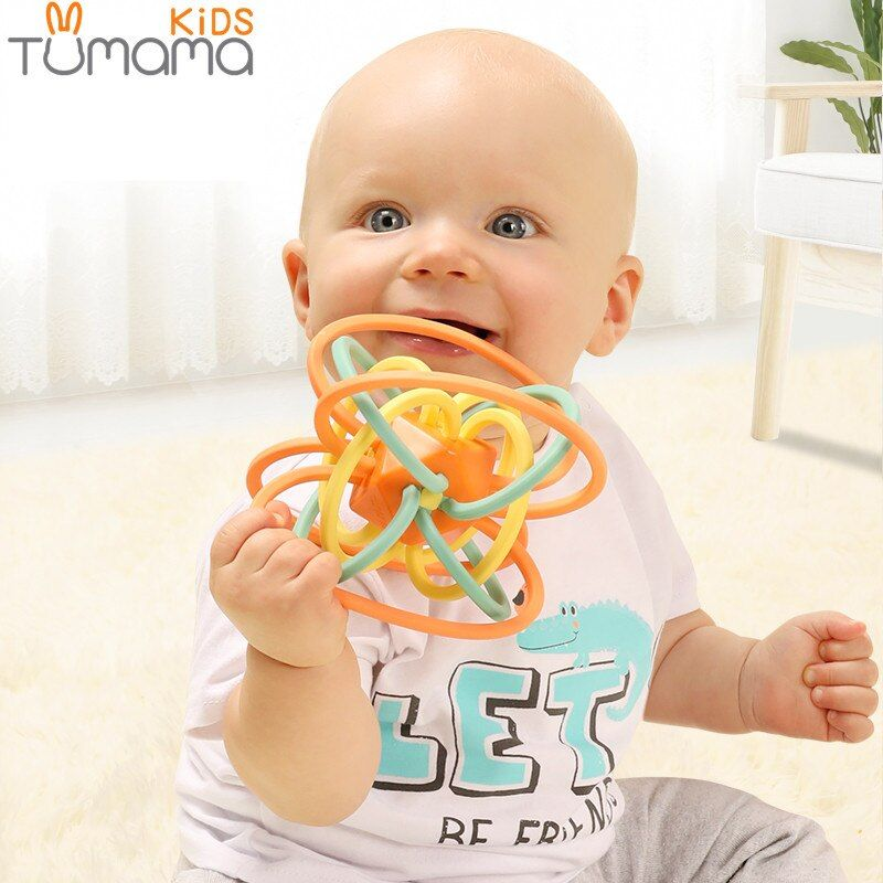 Tumama 0-12 Months Baby Toy Newborn Teether Ball Music Toy Rattles Earily Educational Grasping Toy Plastic Hand Bell Rattle Ball
