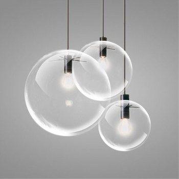 Colgante de cristal luces globo bola redonda Hanglamp brillo suspensión luminaria iluminación Comedor Cocina accesorios de luz