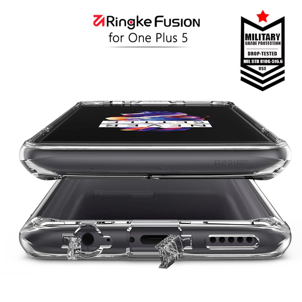 Ringke Fusion For OnePlus 5 case Clear PC Back and Soft Frame Hybrid for One Plus 5T Case with Dirt resistant for Oneplus 5T