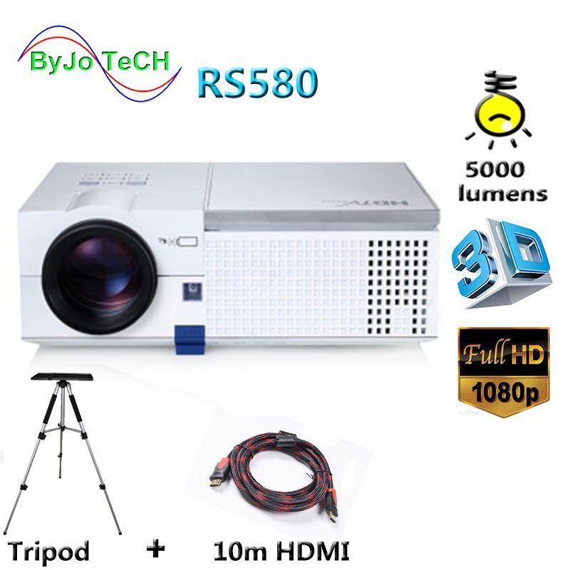 ByJoTeCH RS580 Volle HD 1080 p LED projektor 5000 lumen Eingebaute Doppel HIFI lautsprecher 3D Proyector Mit 10 mt HDMI stativ