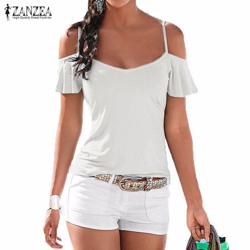 Summer Beach t-shirt mujer 2018 moda blusas casual stretch V Masajeadores de cuello Tops manga corta Camiseta de algodón de hombro más tamaño