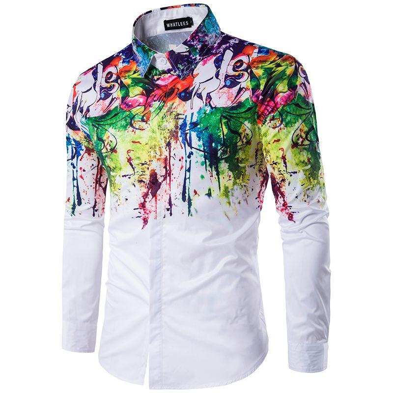 Grande taille décontracté couleur chemise encre splash peinture couleur slim chemises loisirs 6 personnalité couleur à manches longues chemise