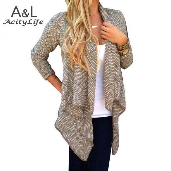 Hot Sale ! 2016 Autumn Spring Sweater Women Ladies Fashion Long Sleeve Open Neck Irregular Knit Cardigan Sweater S-XL 67