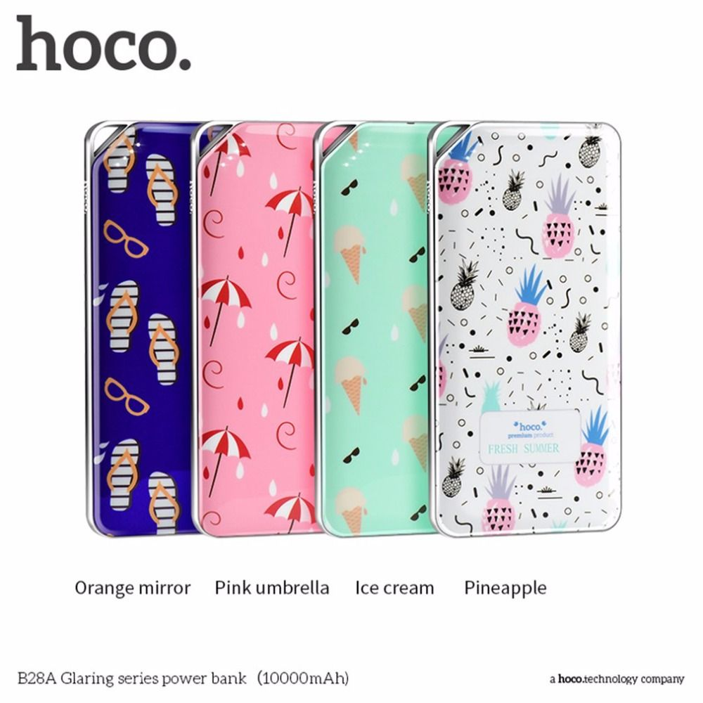 HOCO 10000MAH Mobile External Power Bank Colorful Floral Printed 2 USB Ports Output Battery Charger for Mobile Phones